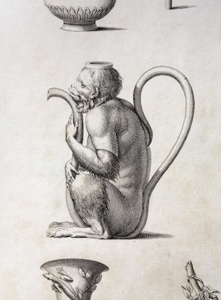 Illustration of a teapot in the shape of a monkey from William Chambers