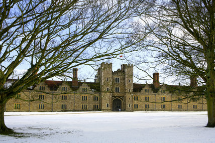 Snow on the ground at the west front of Knole built between 1543 and 1548 by Henry VIII, at Sevenoaks, Kent