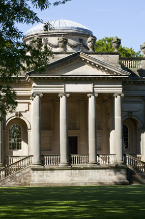 The portico of the Palladian Chapel, begun in 1760 to the design of James Paine, at Gibside, Newcastle upon Tyne