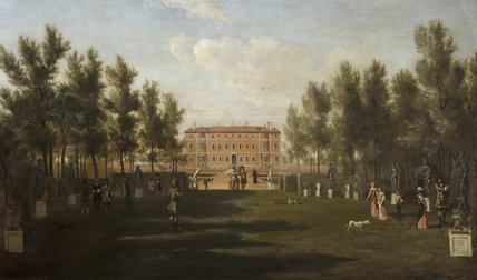 HAM HOUSE FROM THE SOUTH  by Henry Danckerts (1625-1680), c.1675-9, an inset painting in the White Closet at Ham House, Richmond-upon-Thames.