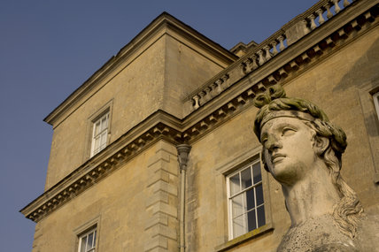 The head of one of a pair of Coade sphinxes guarding the southern portico at Croome Court, Croome Park, Worcestershire
