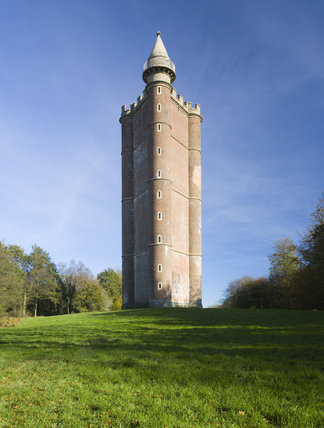The triangular Alfred's Tower at Stourhead is two miles north- west of the garden on Kingsettle Hill on the spot where King Alfred raised his standard in 879