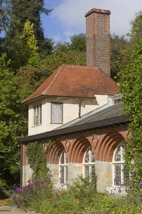 The summer house at the far end of the south front adjoining the conservatory at Standen, the house designed by Philip Webb in the Arts & Crafts style in 1892-4 at East Grinstead, West Sussex