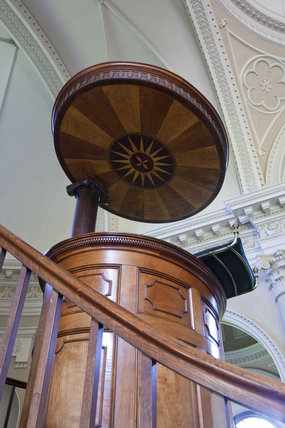 The mahogany pulpit in the Chapel, begun in 1760 to the design of James Paine, at Gibside, Newcastle upon Tyne