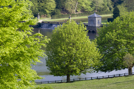 A view to the lake from the deer park at Studley Royal Water Garden, North Yorkshire