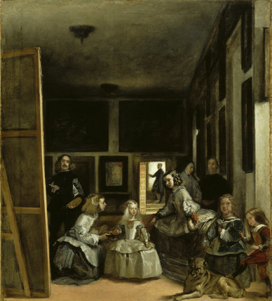 THE HOUSEHOLD OF PHILIP IV ('LAS MANINAS') by Martinez del Mazo (c.1612-1667) after Velazquez, from Kingston Lacy. Photographed in April 1995, post-conservation.