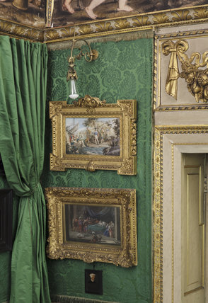 Partial view of the south east corner of the Green Closet to show two giltwood framed paintings, at Ham House, Richmond-upon-Thames