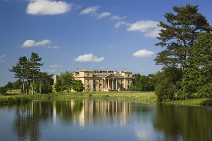 The south front of the house seen across the lake at Croome Park, Croome D'Abitot, Worcestershire