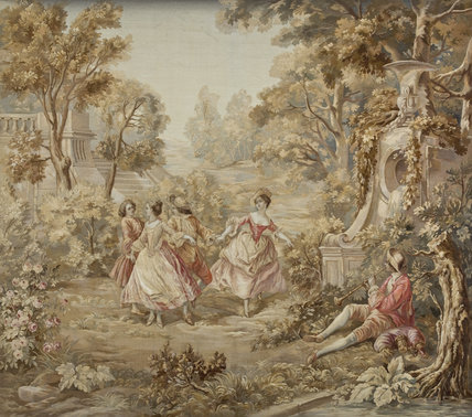 Early twentieth century Aubusson-Felletin tapestry based on paintings by the French artist Nicolas Lancret (1690-1743), in the Marble Hall at Berrington Hall, Herefordshire