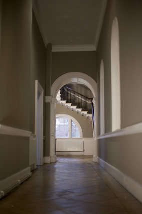 View along the corridor towards stairs at Croome Court, Croome Park, Worcestershire