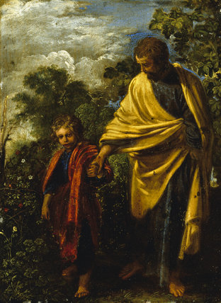 ST JOSEPH AND THE CHRIST CHILD by Adam Elsheimer (c1578-1610) from Petworth House. One of a series of paintings of the apostles. Photographed in November 1994.  NT OWNED.