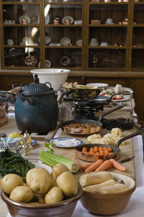 Close view of the table and food being prepared in the Kitchen at Lanhydrock, Cornwall