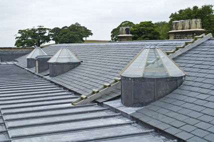 Skylights and leadwork on the roof at Lyme Park, Cheshire