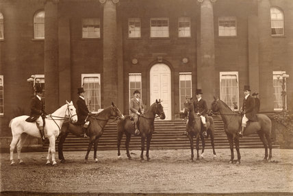 A photograph of LORD CAWLEY AND HIS FOUR SONS IN 1908, in Lady Cawley's Room