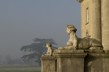 The pair of Coade sphinxes guarding the southern portico at Croome Court, Croome Park, Worcestershire