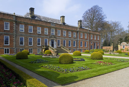 The view across the Victorian Parterre towards the garden front at Erddig, Wrexham, Wales
