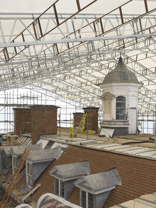 Outdoor conservation - working on the roof at Hanbury Hall, Worcestershire