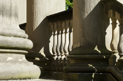Balustrade detail on the Palladian Chapel, begun in 1760 to the design of James Paine, at Gibside, Newcastle upon Tyne
