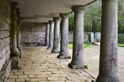 The columned portico at Godolphin House, once the home of Queen Anne's Lord High Treasurer, Sidney Godolphin, near Helston, Cornwall