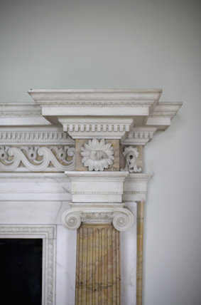 Corner of the fireplace in the Salon at Croome Court, Croome Park, Worcestershire