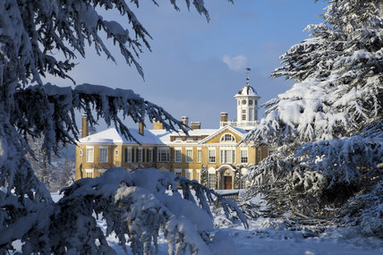 Polesden Lacey, a Regency country house near Dorking, Surrey, in the snow