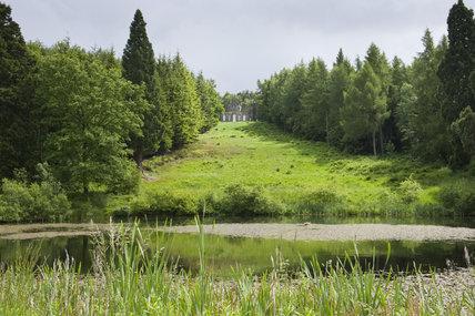 The Octagon Pond in the foreground with the Banqueting House (a Landmark Trust Holiday Home) beyond at Gibside, Newcastle upon Tyne
