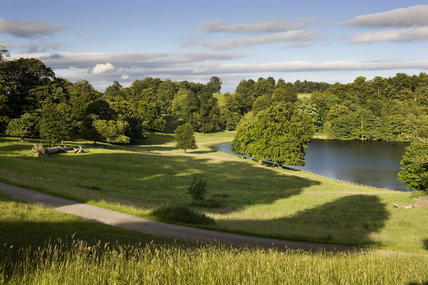 A view from the deer park to the lake at Studley Royal Water Garden, adjoining the estate at Fountains Abbey, North Yorkshire