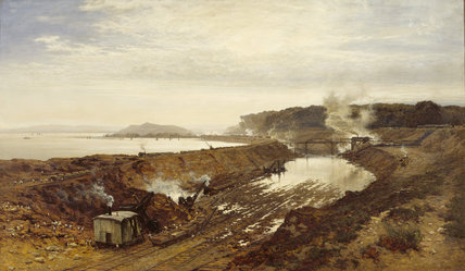 THE EXCAVATION OF THE MANCHESTER SHIP CANAL: EASTHAM CUTTING WITH MOUNT MAINSTAY IN THE DISTANCE by BW Leader (1831-1923) at Tatton Park