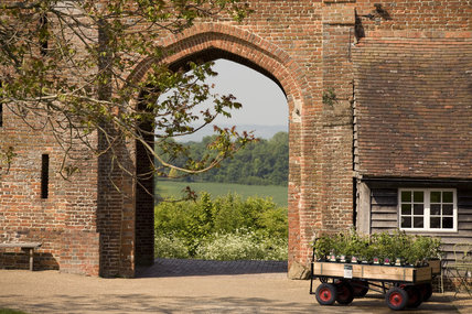 View through the barn towards the landscape at Sissinghurst Castle, Kent