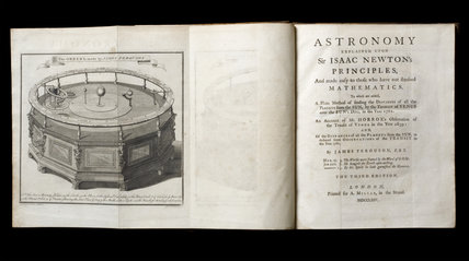 Astronomy Explained upon Sir Isaac Newton's Principles, and made easy to those who have not studied Mathematics (London 1764) by James Ferguson FRS, with a pull out illustration of an orrery, from the Springhill Library collections