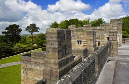 View across the roof at Castle Drogo, Devon to the surrounding Dartmoor countrside