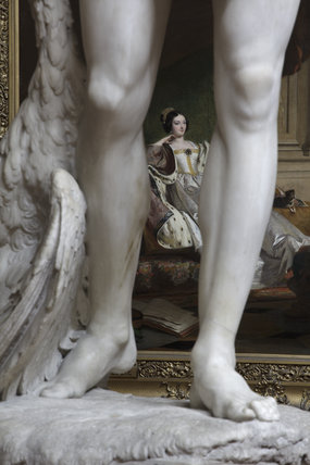 Close view of part of The Falconer sculpture by John Edward Carew in the North Gallery at Petworth House, West Sussex