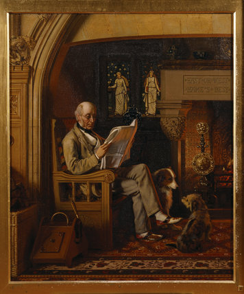 1st LORD ARMSTRONG OF CRAGSIDE seated in the inglenook of the Dining Room with his two dogs at his feet. by Henry Hetherington Emmerson (1831-1895)
