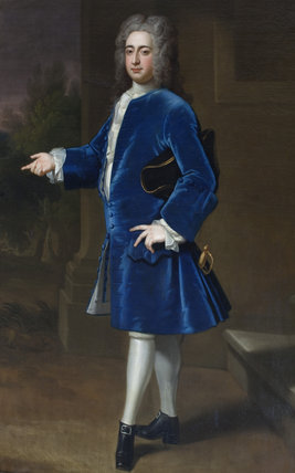 PORTRAIT DESCRIBED AS THOMAS CATESBY, NOW BELIEVED TO BE SIR NICHOLAS BAYLY, 2ND Bt. (1709-1782), attributed to Enoch Seeman, painting in the Staircase Hall at Plas Newydd, Anglesey.