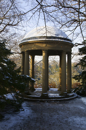 The Temple of Fame in snow, at Studley Royal Water Garden, North Yorkshire