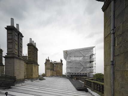 Scaffolding on the roof during conservation work at Hardwick Hall, Derbyshire