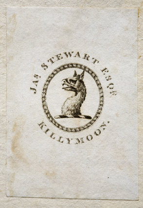 Bookplate of James Stewart Esq, of Killymoon Castle