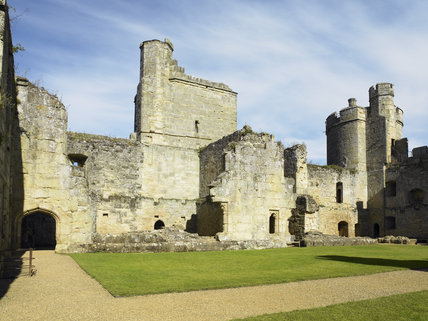 The West Range containing the Retainers' Hall, Chamber and Kitchen at Bodiam Castle, East Sussex, built between 1385 and 1388