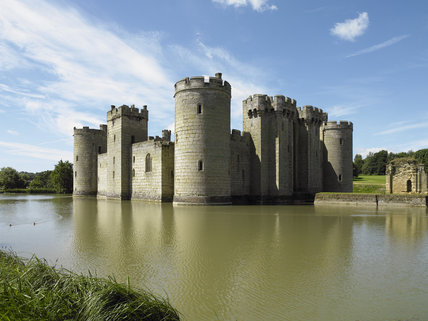Looking towards the East and North Ranges at Bodiam Castle, East Sussex, built between 1385 and 1388