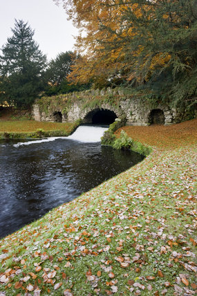Rustic Bridge at Studley Royal Water Garden, adjoining the estate at Fountains Abbey, North Yorkshire