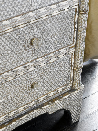 Detail of a late nineteenth century bone, shell and wire parquetry chest from Damascus, in Agatha Christie's Bedroom at Greenway, Devon, which was the holiday home of the crime writer Agatha Christie between 1938 and 1976