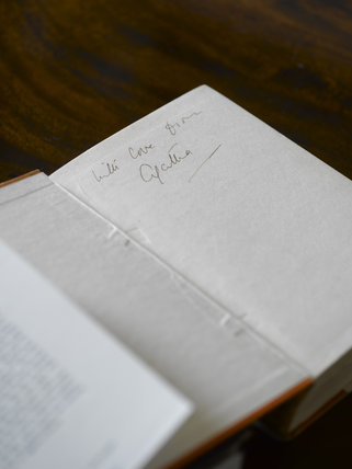 Agatha Christie's signature on the flyleaf of a book at Greenway, Devon, which was the holiday home of the crime writer Agatha Christie between 1938 and 1976