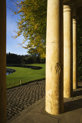 The columns of the Temple of Piety, looking out over Studley Royal Water Garden, North Yorkshire