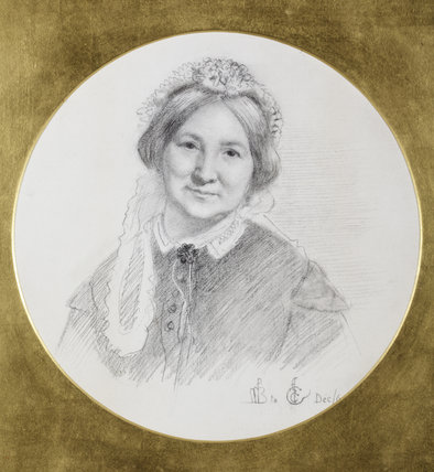 HELEN, WIFE OF AUGUSTUS BROMLEY by Ford Madox Brown (1821-1893), inscribed FMB to ECC Dec 6/7, pencil and chalk, at Wightwick Manor, Warwickshire