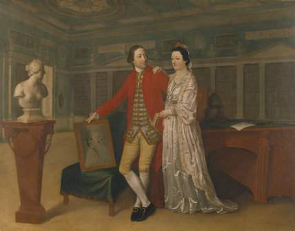 SIR ROWLAND AND LADY WINN IN THE LIBRARY now attributed to Hugh Douglas Hamilton, 1770, in the Library at Nostell Priory.  Owned by the National Trust.