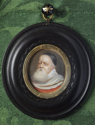 SIR THEODORE TURQUET DE MAYERNE (1573-1655) after Petitot, miniature painting in the Green Closet at Ham House, Richmond-upon-Thames