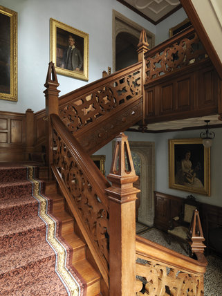 The Teak Staircase at Lanhydrock, Cornwall