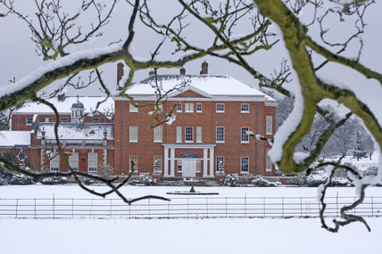 The eighteenth-century mansion Hatchlands at Guildford, Surrey in snow