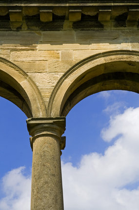 Detail of the Tuscan columns and arched arcade of the Orangery, which was begun in 1772 to a design attributed to James Paine, at Gibside, Newcastle upon Tyne