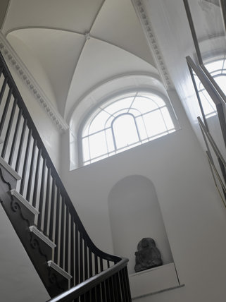 The Main Staircase at Greenway, Devon, which was the holiday home of the crime writer Agatha Christie between 1938 and 1976
